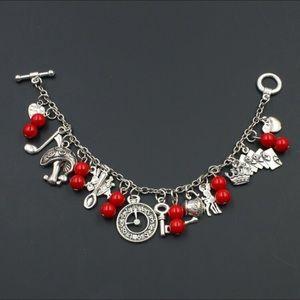 ⭐️2/$25 Alice in Wonderland Charm Bracelet Red